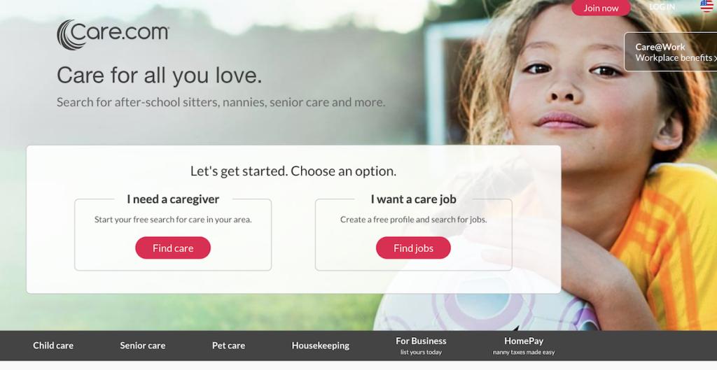 care.com website homepage