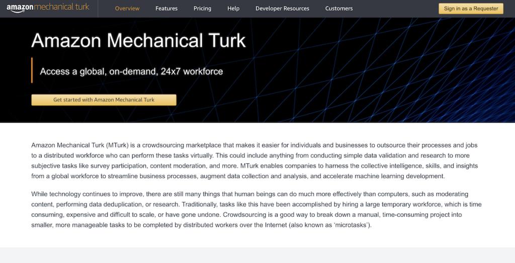 Amazon Mechanical Turk site