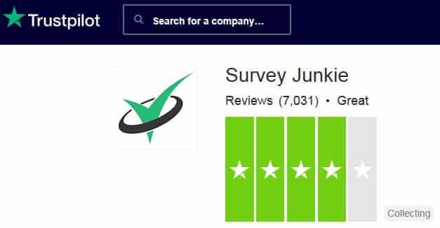 Survey Junkie TrustPilot rating